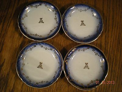 4 Antique Butter Pat Plates