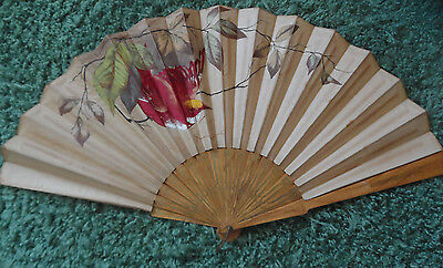 Large Antique Japanese Silk Grained Hardwood Folding Fan