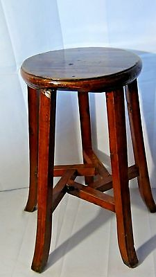 ANTIQUE 19c CHINESE HUANGHUALI WOOD STOOL W/5 FLARED FEET,SIGNED ON BOTTOM