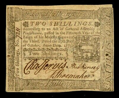 October 25,1775 Pennsylvania 2 Shillings Colonial Currency Pa 187 Extremely Fine