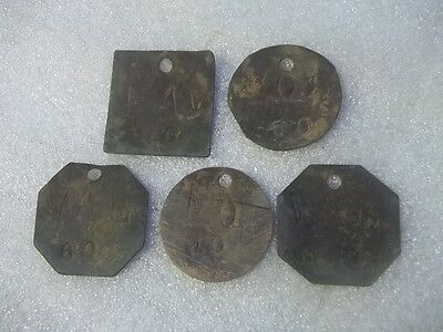 Antique Lot Of Brass Livestock Cattle Identification Tags Estate Find # 1