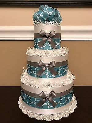 3 Tier Diaper Cake Blue Gray Bows White Circles Boys Baby Shower Centerpiece