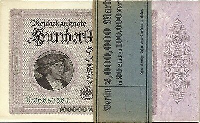 Germany 100,000 Marks 1923 ~ Original Pack Of 20 Notes ~ P-83 ~ Uncirculated