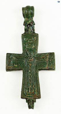 Ancient 12-14th Cent. Byzantine Christ 'Orans' Bronze Reliquary Cross Pendant