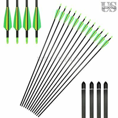 Archery 32'' Carbon Arrows Target Practice Hunting For Compound & Recurve Bow US