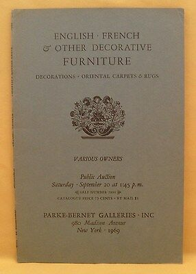 Parke-Bernet English French & Other Decorative Furniture Sept 1969 New York