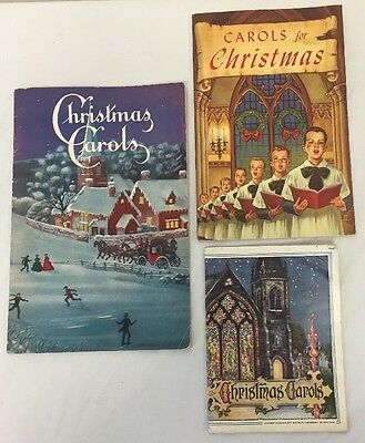 Set Of 3 Vintage Paper Back Holiday Christmas Carols Collectible Music Books*