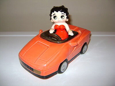 Betty Boop Red Sports Car Ceramic Trinket Box Covered Dish. Vandor 1990.