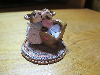 Wee Forest Folk (WFF) Beddy-Bye Mousey M069 Mom Mouse in Blue, Baby in Pink