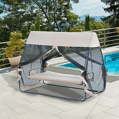 3 Person Covered Patio Swing Chair Garden Hammock and Bed with Heavy-duty Stand