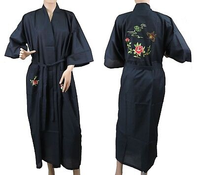 Traditional Chinese Floral Embroidered Floral Kimono Robe Top Black L New