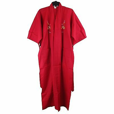 Traditional Chinese Embroidered Dragon Kimono Robe Top Red M, L New