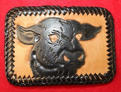 leather belt buckle handcrafted stitched  Hand Crafted evil rodeo - angry bull!