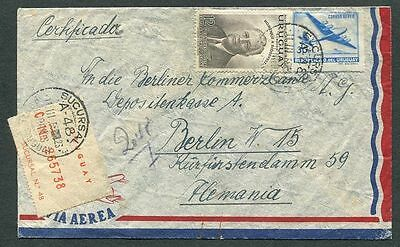 Uruguay 1955 Registered Airmail cover to Germany