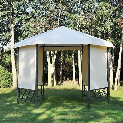 Metal Hexagon Patio Gazebo Outdoor Garden Pavilion Canopy w/ 4 Pull Down Shade