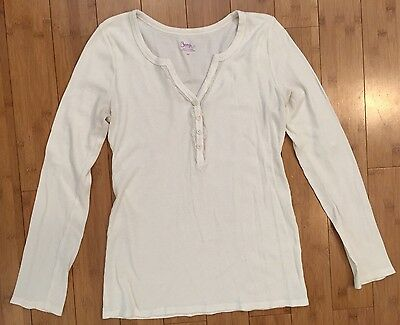 Bump In The Night Maternity Off White Long Sleeve Thermal Tee Shirt Top Size S