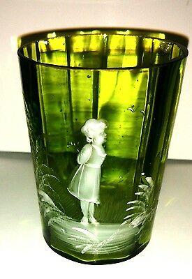 Antique Mary Gregory White Enameled Green Glass Tumbler - Victorian Girl Motif