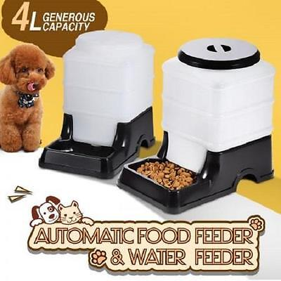 Self Feeding Automatic Cat Dog Pet Bowls, Feeder and Waterer - Pack of 2 Black