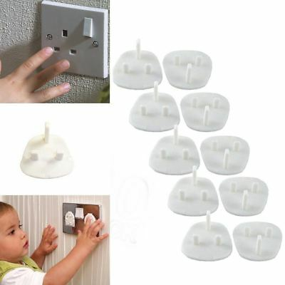 10 x White Plug Socket Cover Baby Proof Electric Set 3 Pin Universal Protector