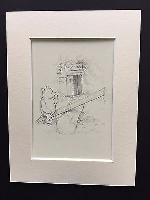 "Winnie The Pooh Postcard Drawing ""Sea Saw at Mr. Sanderz"" With Ivory Mount card"