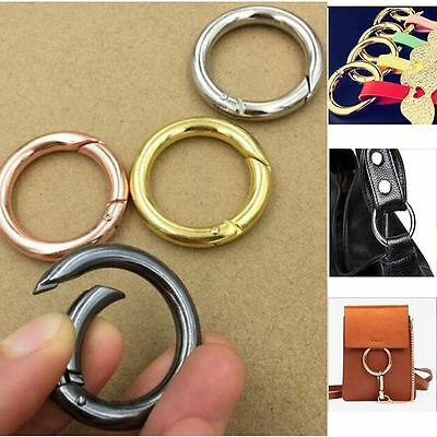5 Pcs Hook Carabiner Round Hiking Keychain Keyring Buckle 28mm Snap Clips