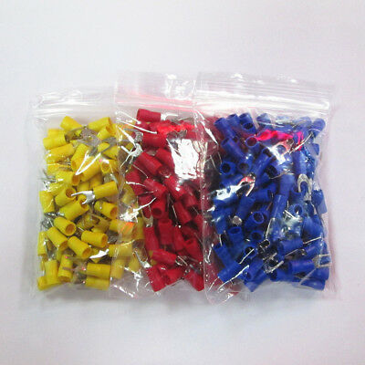 150pcs FORK SPADE TERMINAL SV2-3.2 VINYL INSULATED CRIMP WIRE CONNE 3 COLORS