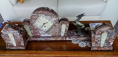 Antique Marble Mantel Clock With Garnitures