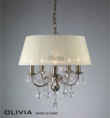 Diyas IL-IL30048 Olivia 5 Light Pendant Antique Brass/Ivory Cream Gauze Shade