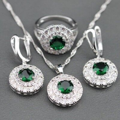 925 Sterling Silver  Earrings Necklace Ring Set Gift