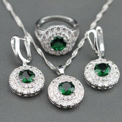 925 Sterling Silver Rhinestone Crystal Earrings Necklace Ring Set Gift 4 Colors