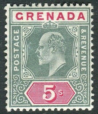 GRENADA-1906 5/- Green & Carmine.  A lightly mounted mint example Sg 75
