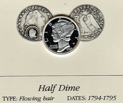 1794 Flowing Hair Half Dime 5c Franklin Mint Miniature Proof Silver Coin