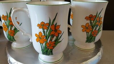 4 Made in Staffordshire England Tall Coffee Mugs Cups MINT Orange Flowers