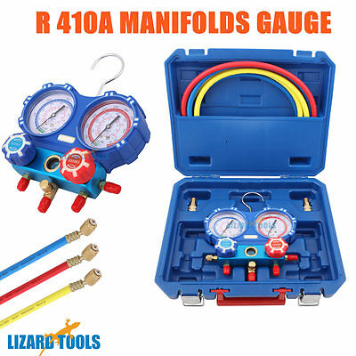 "Genuine Air Manifold Gauge Tool set R410a Refrigeration 1/4"" 5/16"" Adaptor T0281"