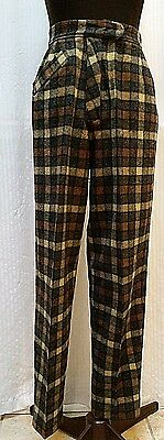 Vintage WOMEN'S ERNST ENGEL PLAID PANTS--High Waist--Tapered Leg--Waist 26 in.