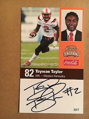 Taywan Taylor SIGNED 2017 Senior Bowl Card Western Kentucky Hilltoppers ROOKIE