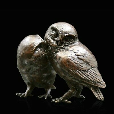 Pair of Little Owls Solid Bronze Foundry Cast Sculpture by Michael Simpson (949)