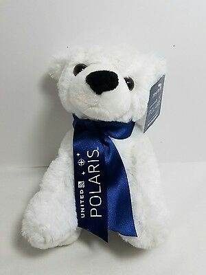 "United Polaris Airlines ""First to Fly"" Plush Teddy Polar Bear Soft Toy"