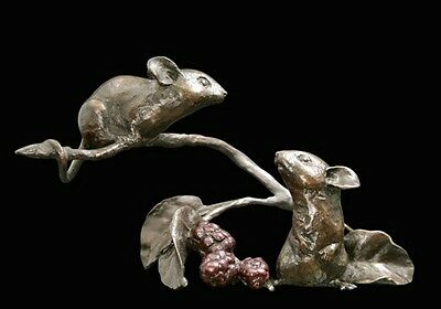 Mice with Berries Solid Bronze Foundry Cast Sculpture by Michael Simpson [952]