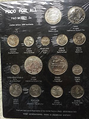 FAO coins Board 3A - 15 coins from various countries