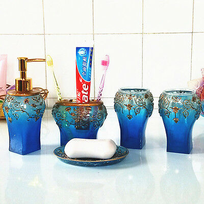 HOT 5pcs Accessory Modern Accessories Blue Sets Bathroom Soap Holder Toothbrush