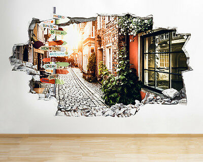 Q471 Street Travel Living Memories Smashed Wall Decal 3D Art Stickers Vinyl Room