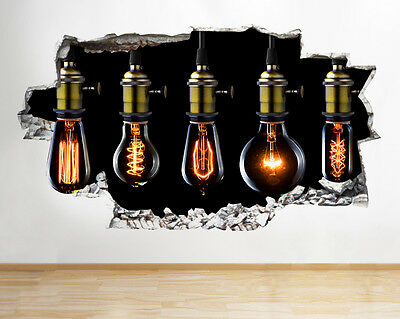 Q458w Light Bulbs Cool Living Hall Smashed Wall Decal 3D Art Stickers Vinyl Room