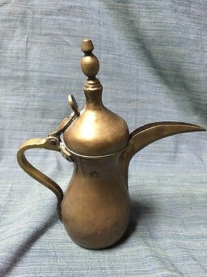 "Turkish Islamic Arabic Dallah Tea Coffee pot Brass Signed 11"" Tall"