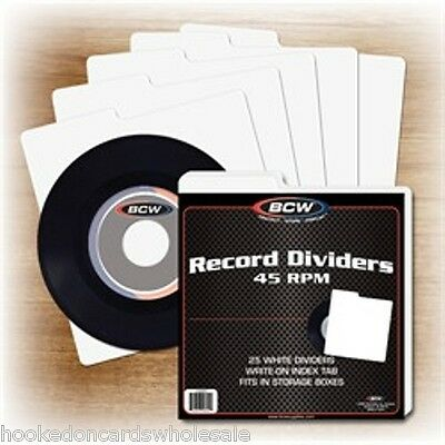 1 Pack of 25 BCW White 45 rpm Record Dividers Tabbed for storage boxes