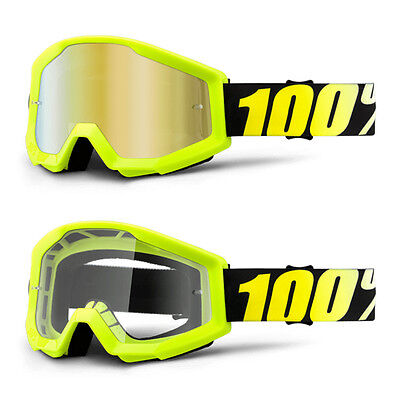 2017 100% Strata Motocross Mx Bike Mtb Goggles Neon Yellow