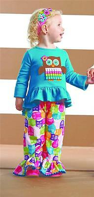 Mud Pie Baby Girls Owl Disco Pants Set Forest Friends Collection 1112185 New