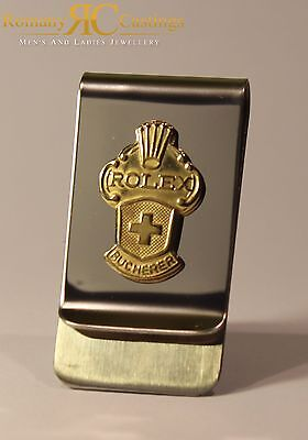 Genuine Rolex 925 Spoon  Money Clip with Collectors Spoons 9ct Gold dipped