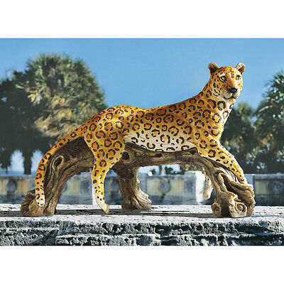 African Wildlife Jungle Hunter Exotic Leopard Sculpture Yard Garden Statue