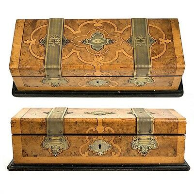Antique French Glove or Jewelry, Documents Box, Casket, Marquetry and Brass
